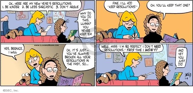 Comic Strip Greg Evans  Luann 2009-01-04 sarcastic