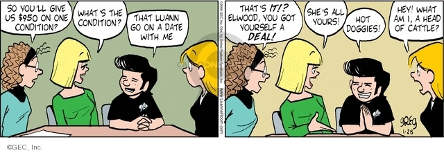 Comic Strip Greg Evans  Luann 2009-01-28 money