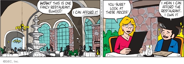 Comic Strip Greg Evans  Luann 2009-03-03 dining out