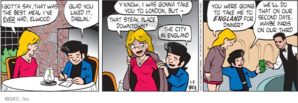 Comic Strip Greg Evans  Luann 2009-03-05 dining out