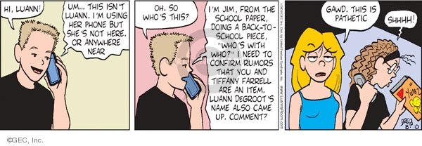 Comic Strip Greg Evans  Luann 2009-08-10 date