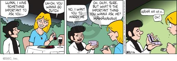 Comic Strip Greg Evans  Luann 2009-09-26 sure