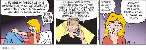 Cartoonist Greg Evans  Luann 2009-11-21 gratitude