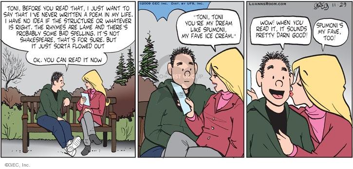 Comic Strip Greg Evans  Luann 2009-11-29 Toni