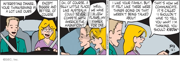 Comic Strip Greg Evans  Luann 2009-12-01 Thanksgiving