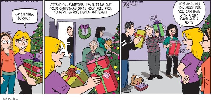 Comic Strip Greg Evans  Luann 2009-12-13 gift giving
