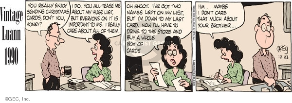 Comic Strip Greg Evans  Luann 2009-12-23 holiday tradition