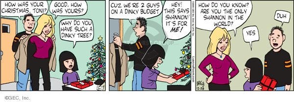 Comic Strip Greg Evans  Luann 2009-12-28 give