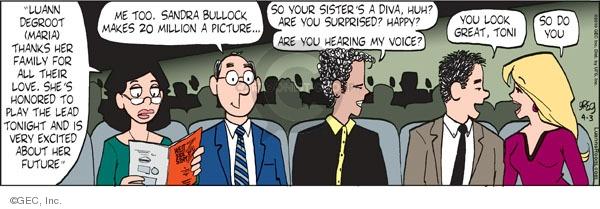 Cartoonist Greg Evans  Luann 2010-04-03 gratitude