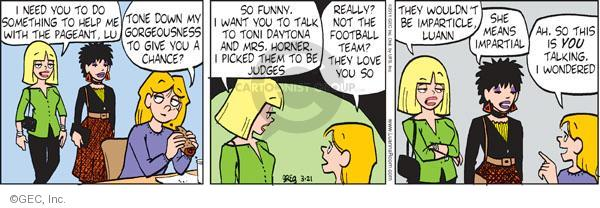 Comic Strip Greg Evans  Luann 2011-03-21 football