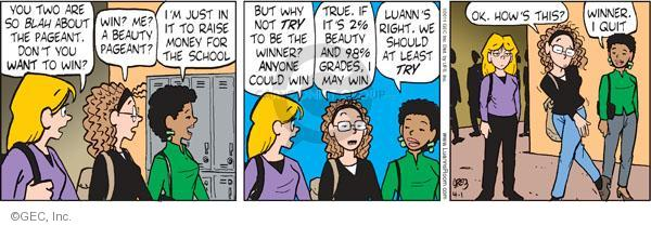 Comic Strip Greg Evans  Luann 2011-04-01 beauty contest