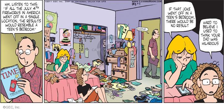 Cartoonist Greg Evans  Luann 2011-07-03 joke