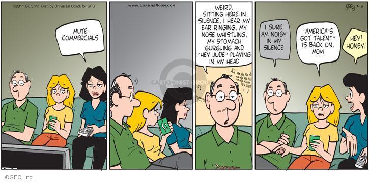 Comic Strip Greg Evans  Luann 2011-07-10 loud music
