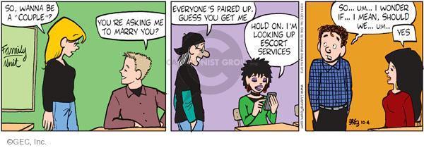 Comic Strip Greg Evans  Luann 2011-10-04 shyness