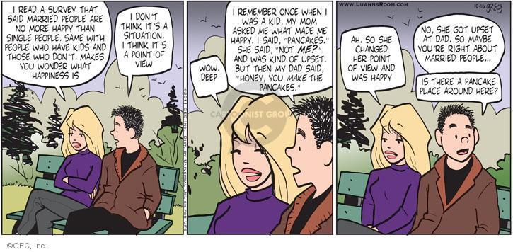 Comic Strip Greg Evans  Luann 2011-10-16 right place