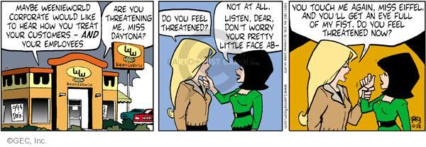 Comic Strip Greg Evans  Luann 2011-10-28 threaten