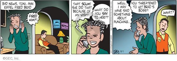 Comic Strip Greg Evans  Luann 2011-11-01 threaten