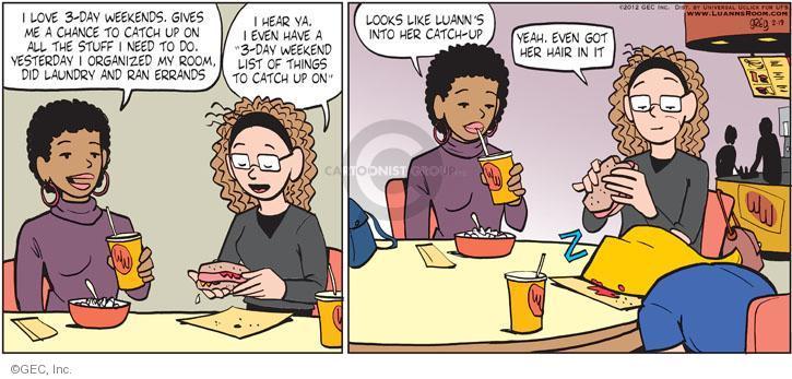 Comic Strip Greg Evans  Luann 2012-02-19 laundry room