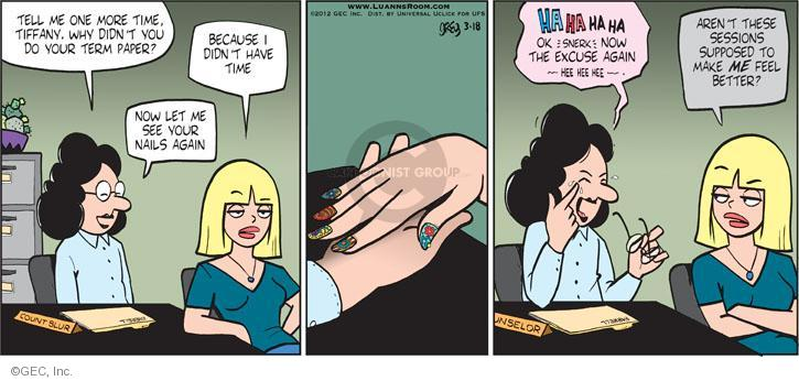 Comic Strip Greg Evans  Luann 2012-03-18 nail polish