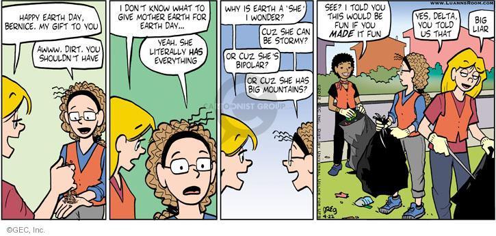 Comic Strip Greg Evans  Luann 2012-04-22 gift