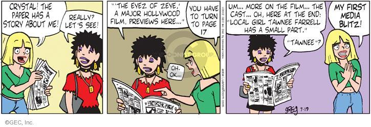 Comic Strip Greg Evans  Luann 2012-07-19 actress