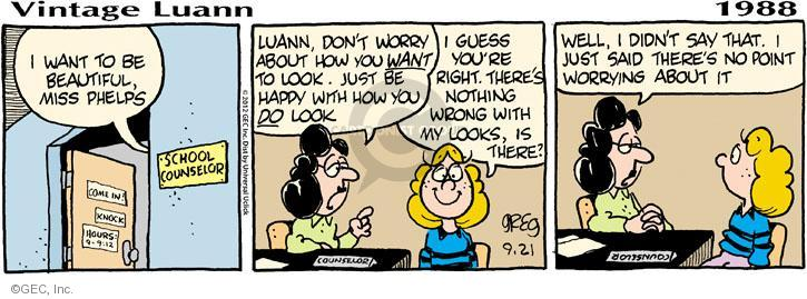 Comic Strip Greg Evans  Luann 2012-09-21 beauty school