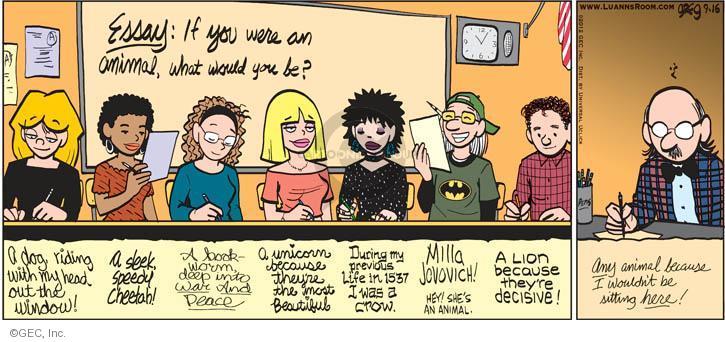 Comic Strip Greg Evans  Luann 2012-09-16 previous