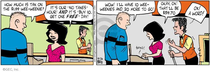 Cartoonist Greg Evans  Luann 2012-10-26 tax