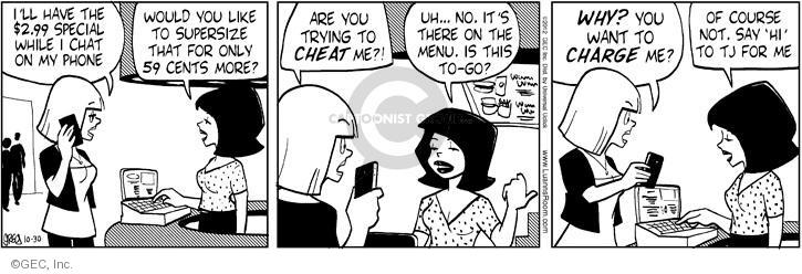 Comic Strip Greg Evans  Luann 2012-10-30 dining out