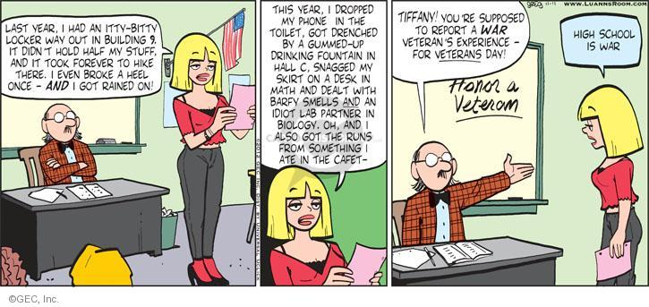 Cartoonist Greg Evans  Luann 2012-11-11 broke