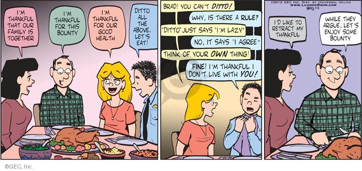 Comic Strip Greg Evans  Luann 2012-11-18 bounty