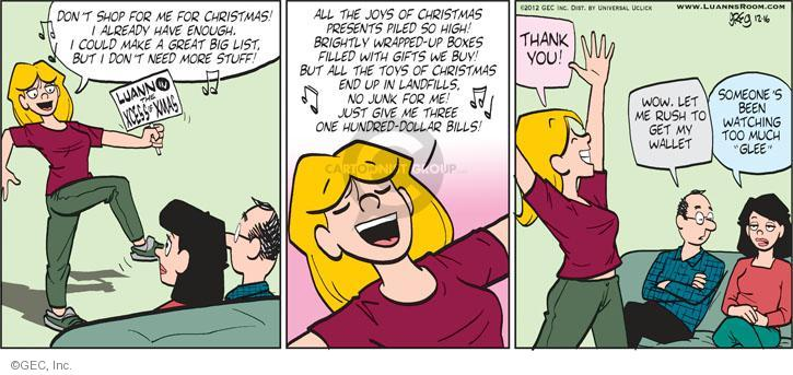 Comic Strip Greg Evans  Luann 2012-12-16 $1.00