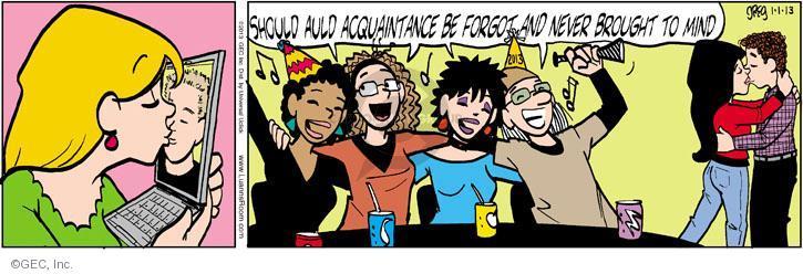 Comic Strip Greg Evans  Luann 2013-01-01 new years kiss