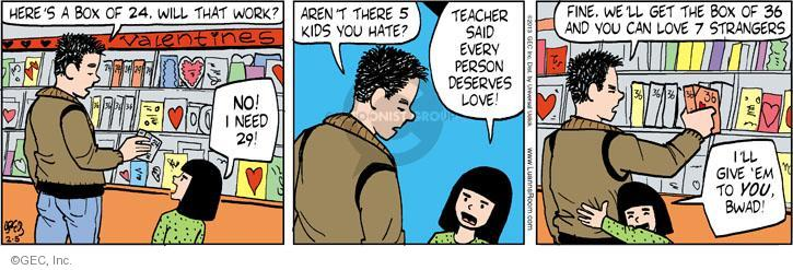 Cartoonist Greg Evans  Luann 2013-02-05 Valentine's Day
