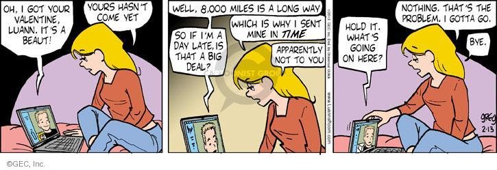 Cartoonist Greg Evans  Luann 2013-02-13 Valentine's Day