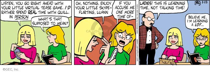Cartoonist Greg Evans  Luann 2013-02-23 ahead
