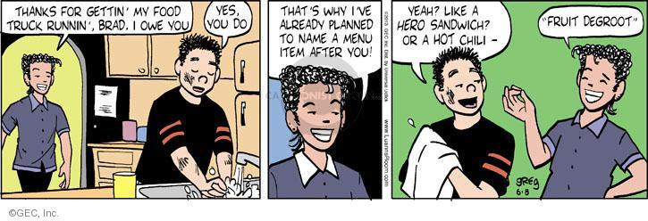 Cartoonist Greg Evans  Luann 2013-06-08 dining out