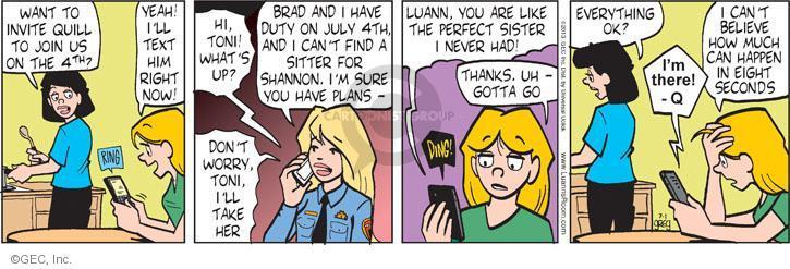 Comic Strip Greg Evans  Luann 2013-07-01 sitter