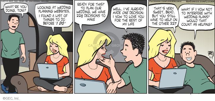 Comic Strip Greg Evans  Luann 2013-07-07 love life