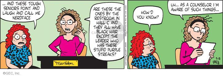 Comic Strip Greg Evans  Luann 2013-09-18 hall