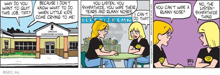 Comic Strip Greg Evans  Luann 2013-11-11 elementary school
