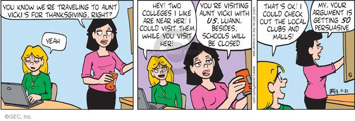 Comic Strip Greg Evans  Luann 2013-11-21 Thanksgiving family
