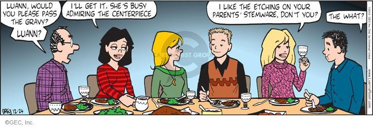 Comic Strip Greg Evans  Luann 2013-12-24 mealtime