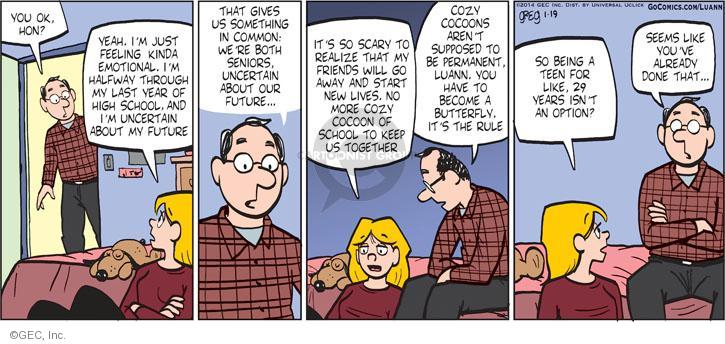 Comic Strip Greg Evans  Luann 2014-01-19 growing up