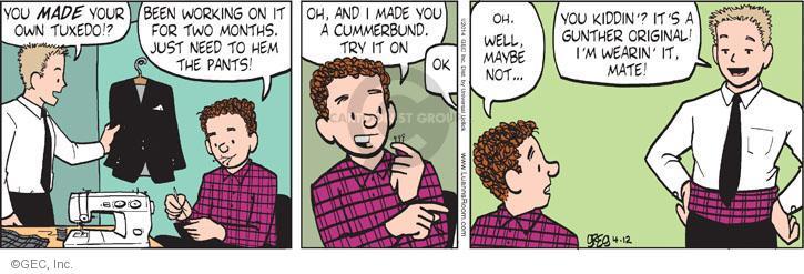 Comic Strip Greg Evans  Luann 2014-04-12 work clothes