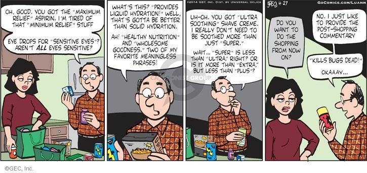 Comic Strip Greg Evans  Luann 2014-04-27 sarcastic
