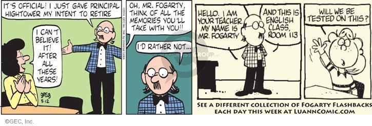 Comic Strip Greg Evans  Luann 2014-05-12 teacher