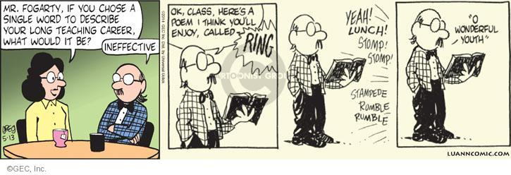 Comic Strip Greg Evans  Luann 2014-05-13 teacher