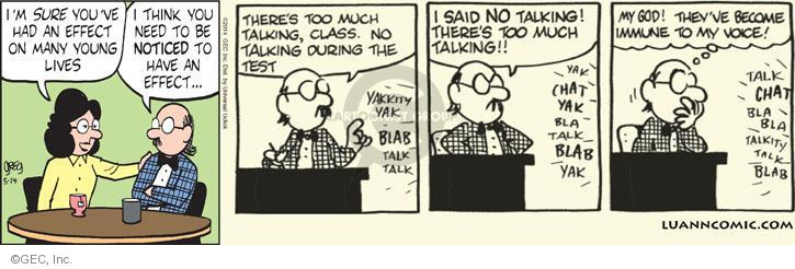 Cartoonist Greg Evans  Luann 2014-05-14 notice