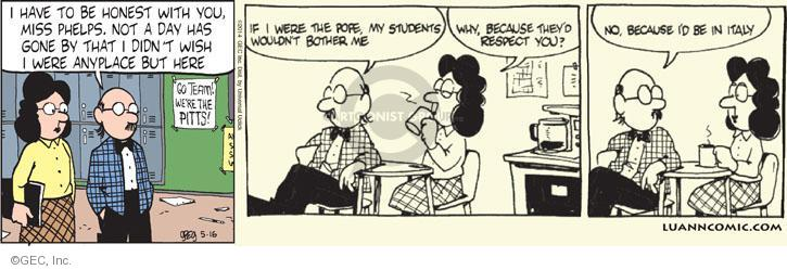 Comic Strip Greg Evans  Luann 2014-05-16 with all due respect